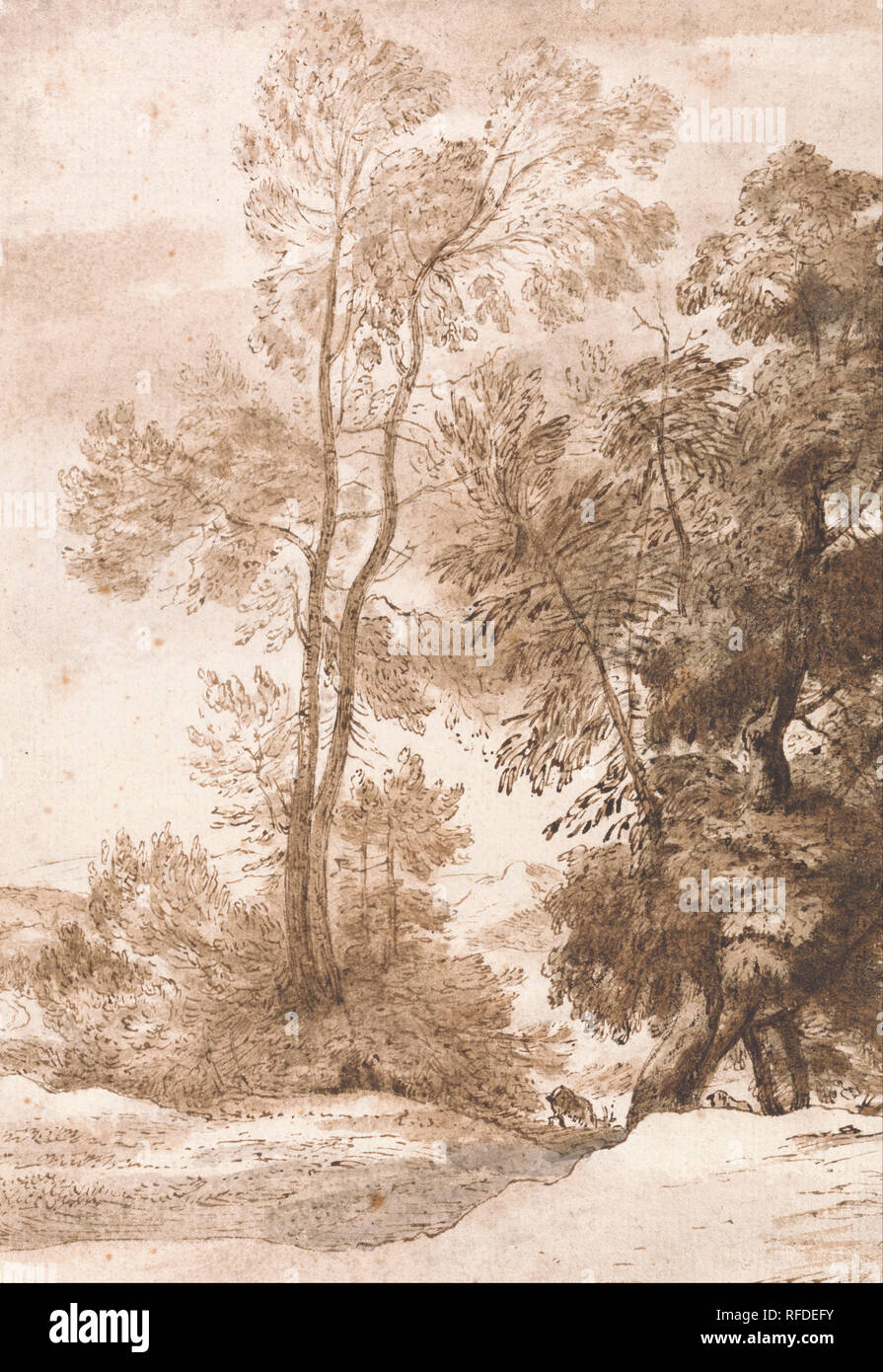 Trees And Deer Date Period 1825 Drawing Pen And Brown Ink With Brown And Gray Wash