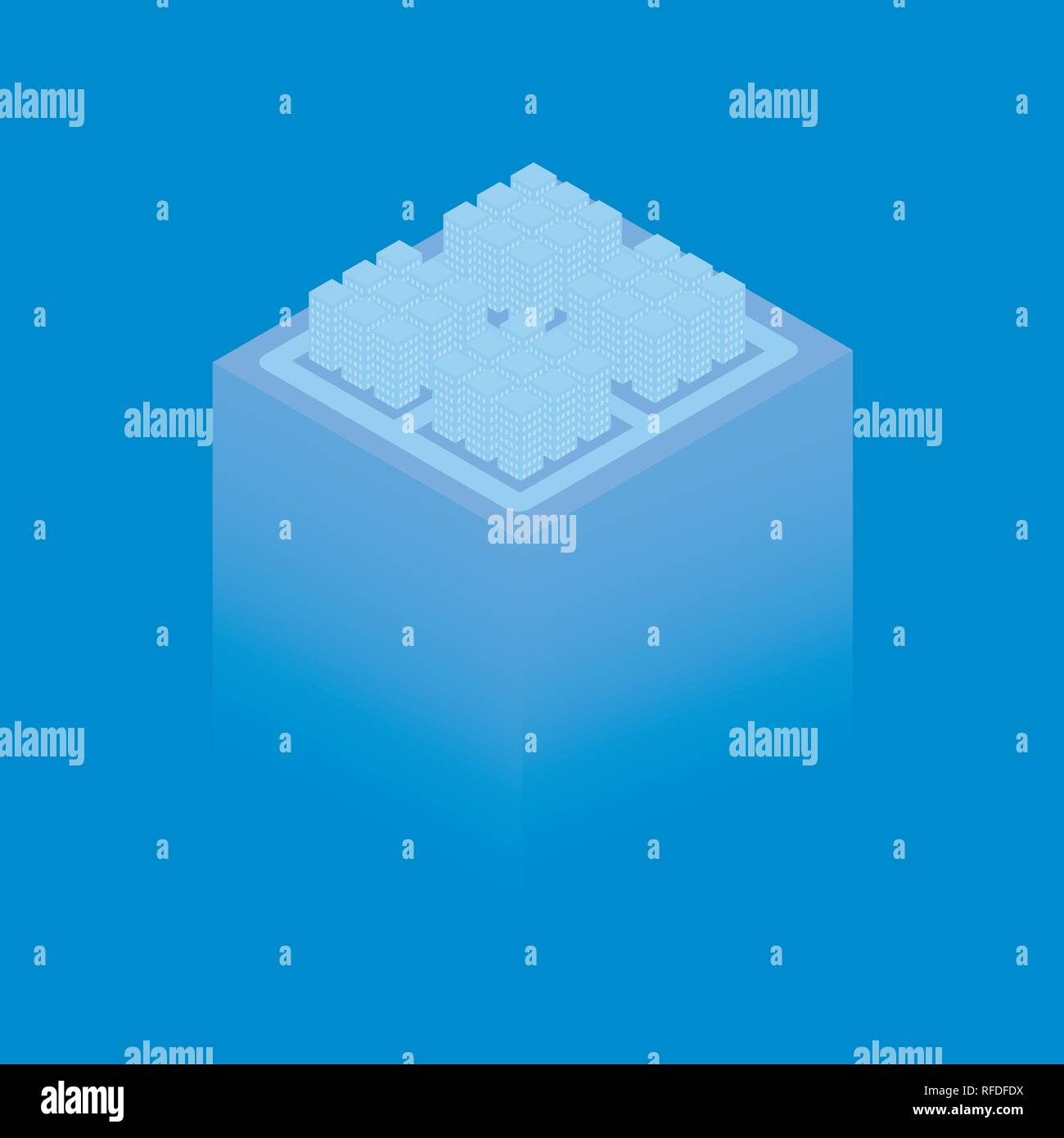The projection of the neighborhood with multi-storey houses on a blue background. Vector illustration. Stock Vector