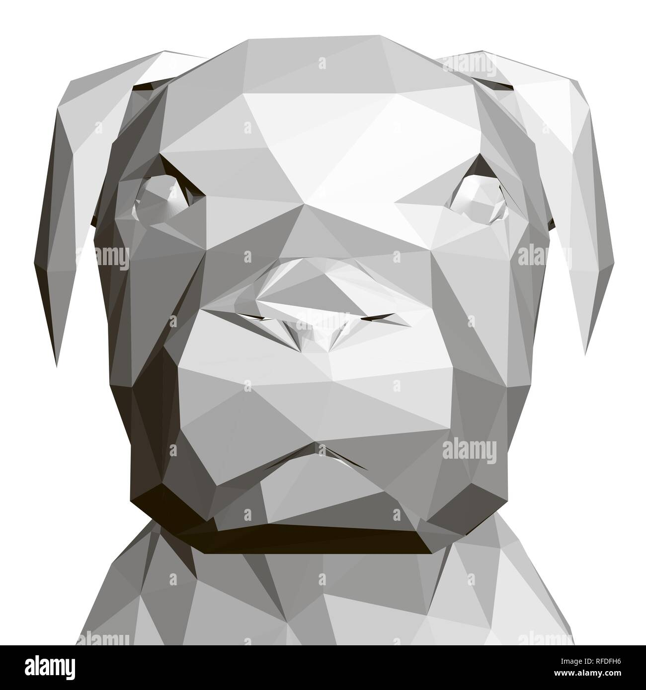 Polygonal Dog Head 3d Front View Geometric Dog Head