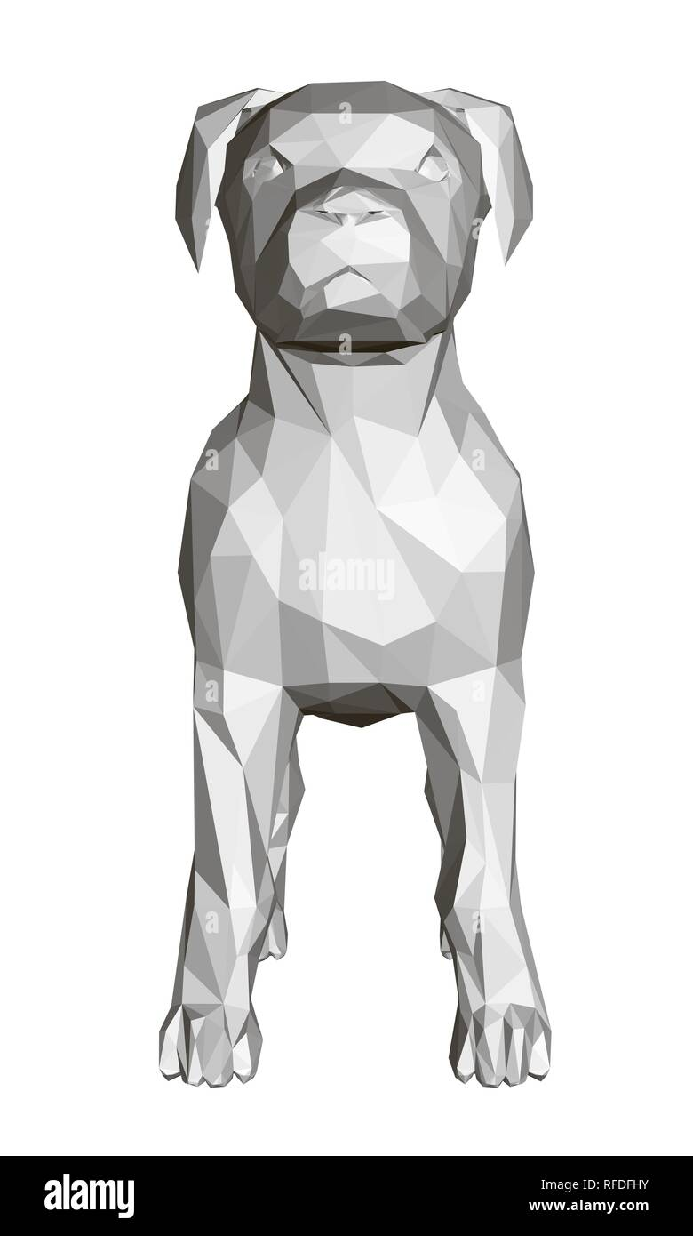 3d Polygonal Dog Front View Geometric Figure Of A Dog