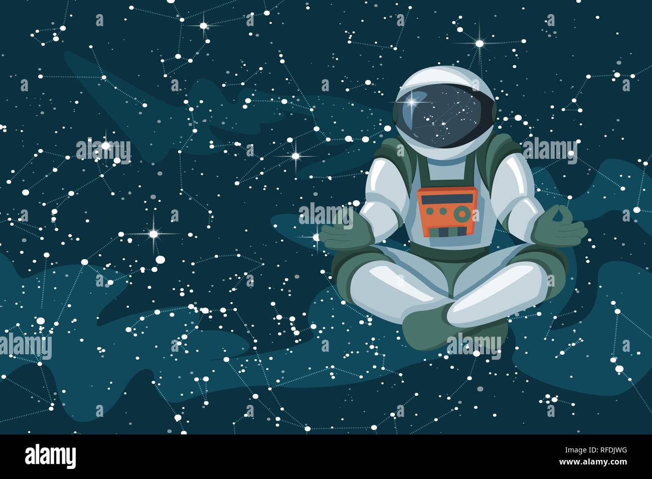 Astronaut sitting in lotus position, meditating, relaxing floating in space - Stock Vector