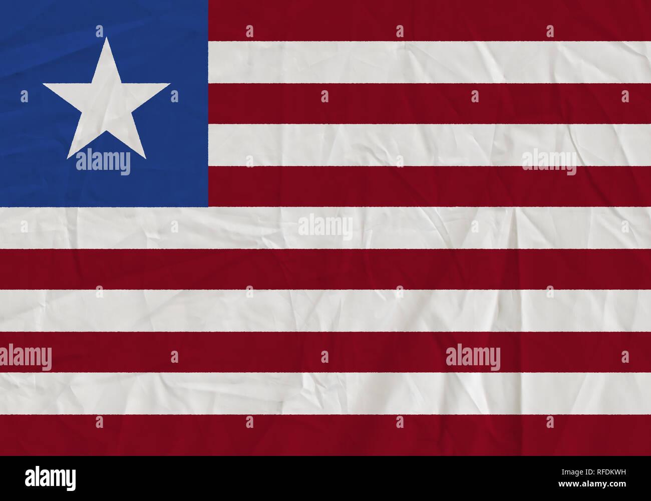 Liberia grunge flag. Patriotic background. National flag of Liberia - Stock Image
