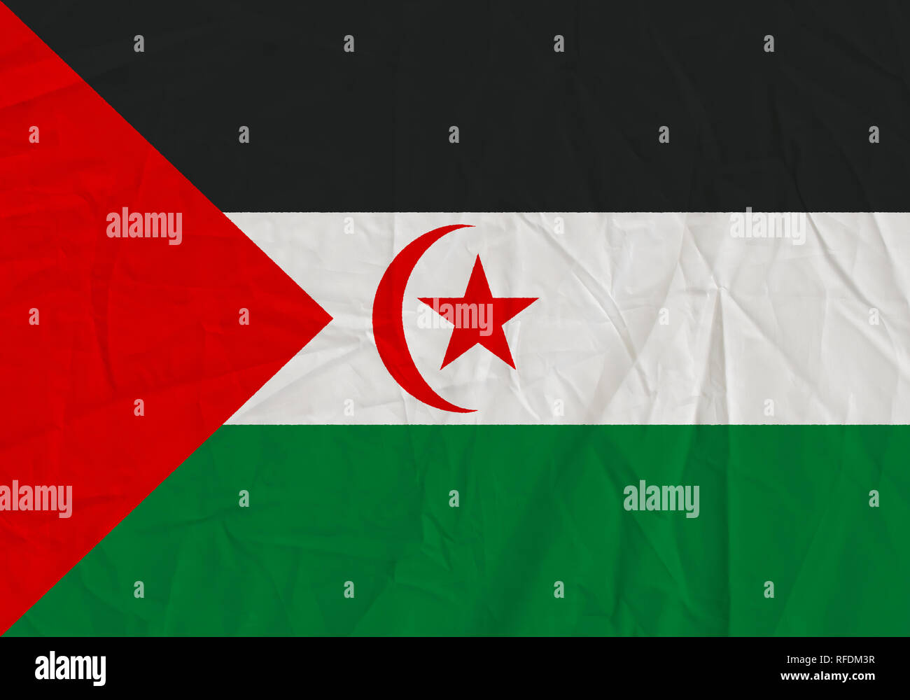 Sahrawi Arab Democratic Republic grunge flag. Patriotic background. National flag of Sahrawi Arab Democratic Republic - Stock Image