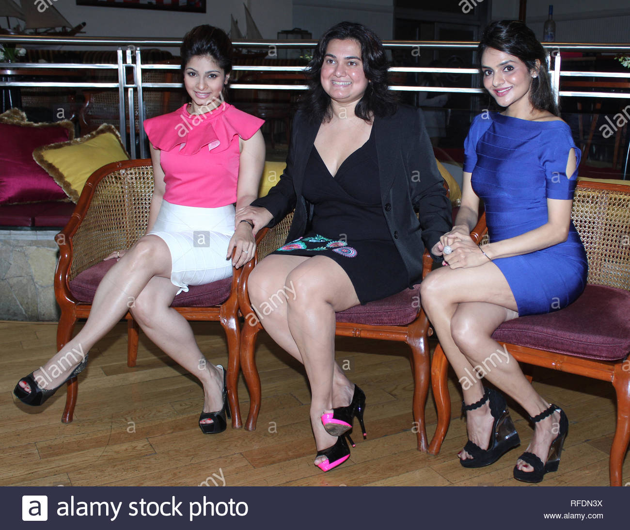 (L to R) Bollywood and Theatre personalities Tanisha, Divya Palat and Madhooo during the promotion of their new play The Verdict in Mumbai, India on August 7, 2013.(Utsav Devdutta) - Stock Image