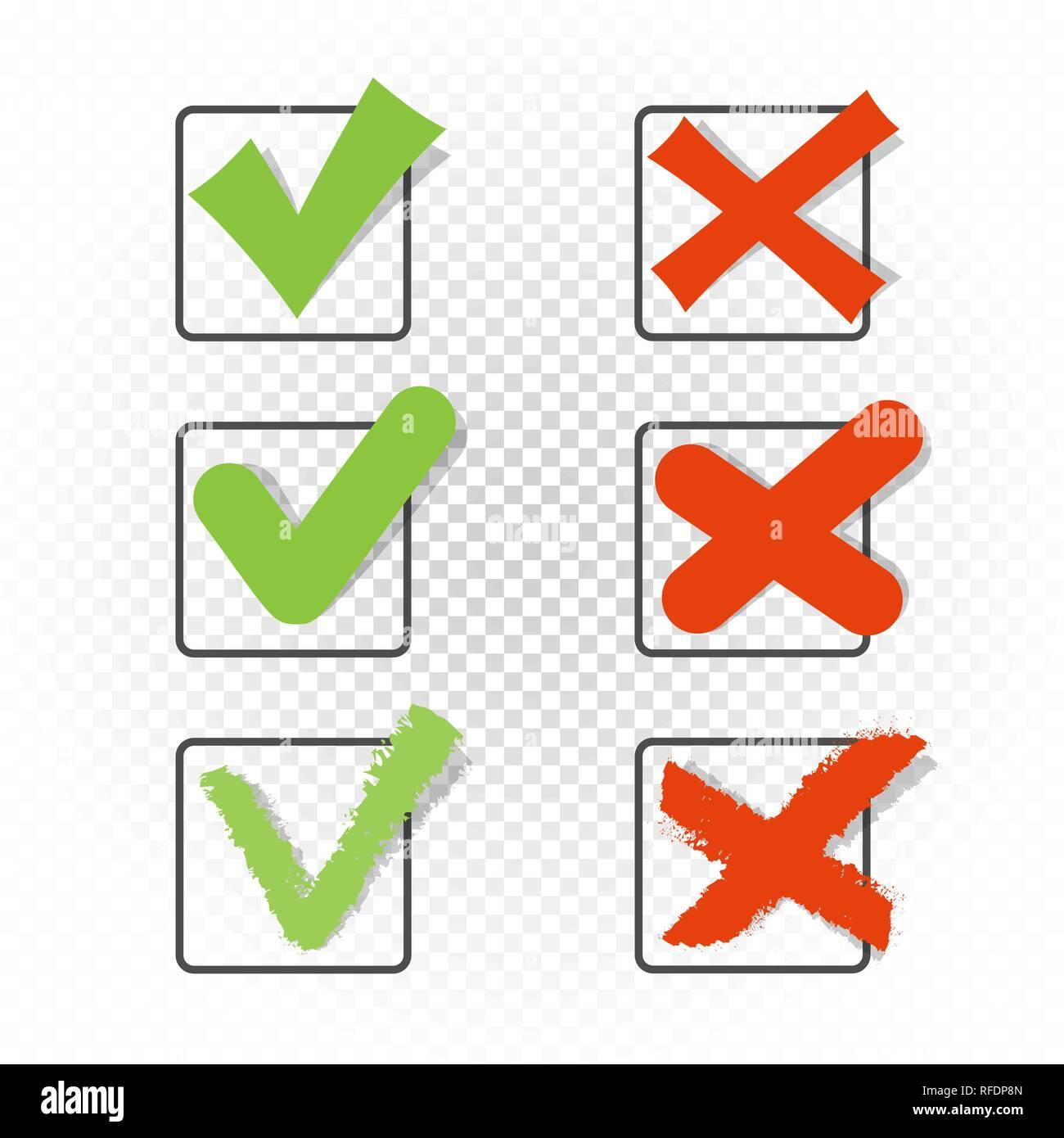 Voting square checkbox sign symbol set template  Green