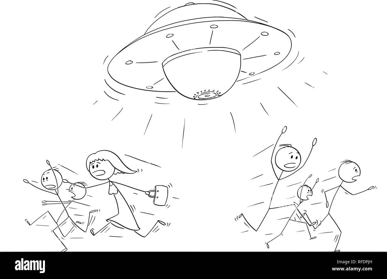 Cartoon drawing of crowd of people running in panic away from ufo or alien ship