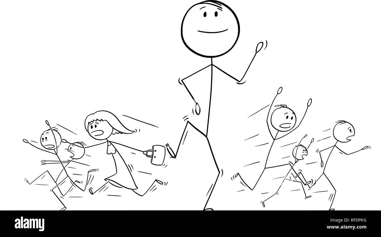 Cartoon Drawing of Crowd of People Running in Panic Away From Giant Man - Stock Vector