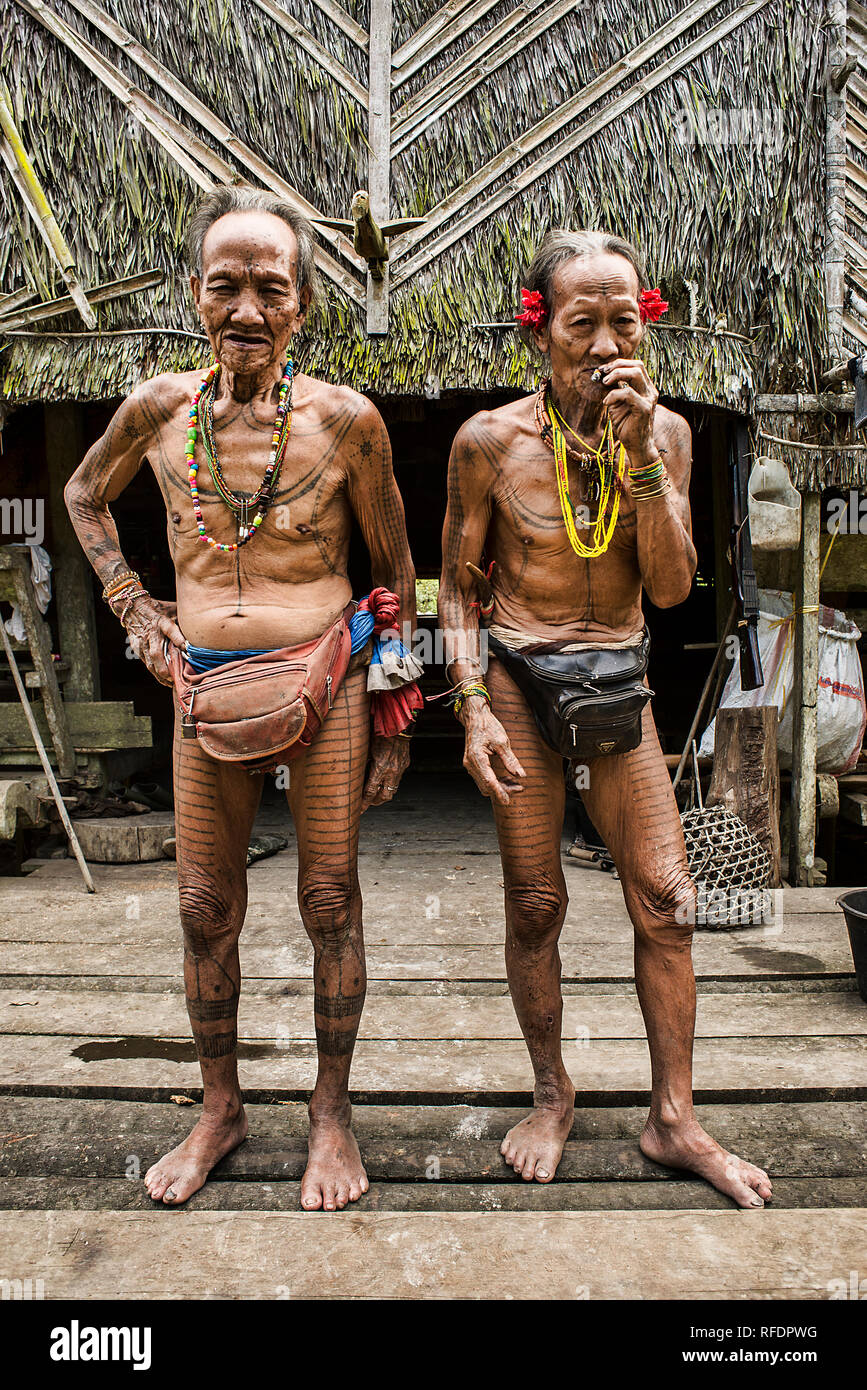 these are, Kuki chief of the Mentawai tribe (left) and Toikot Chaman (right) They are the last Mentawai. - Stock Image