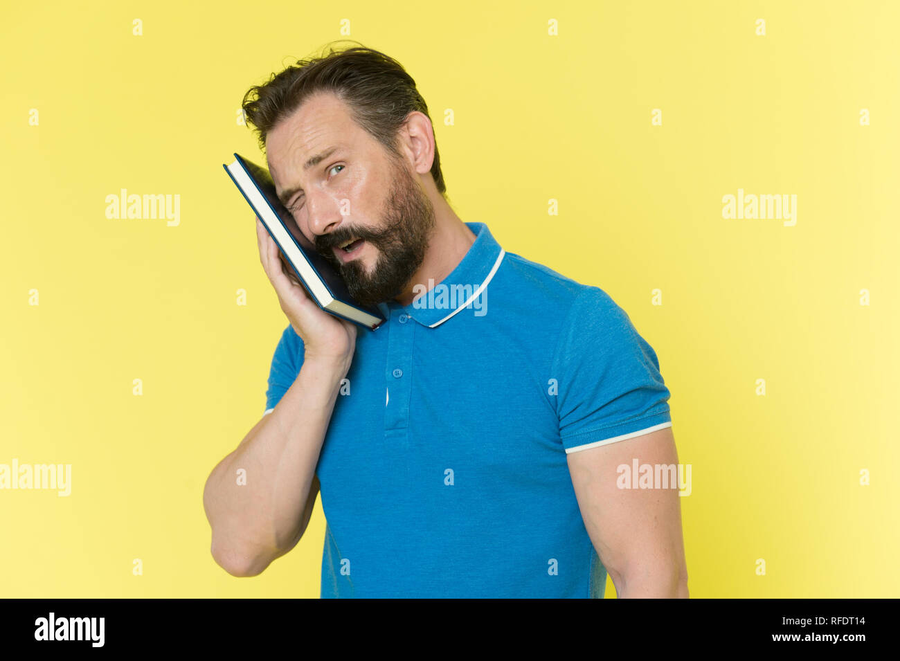 Pressure of to do list. Time management skills. Man planning schedule hold notepad. Man bearded manager winking face with pressed notepad. Successful man planning schedule meeting. - Stock Image
