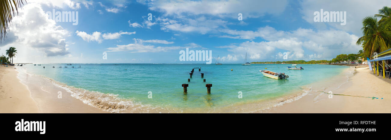 Saint Anne beach, Guadeloupe, French West Indies, panoramic view. Stock Photo