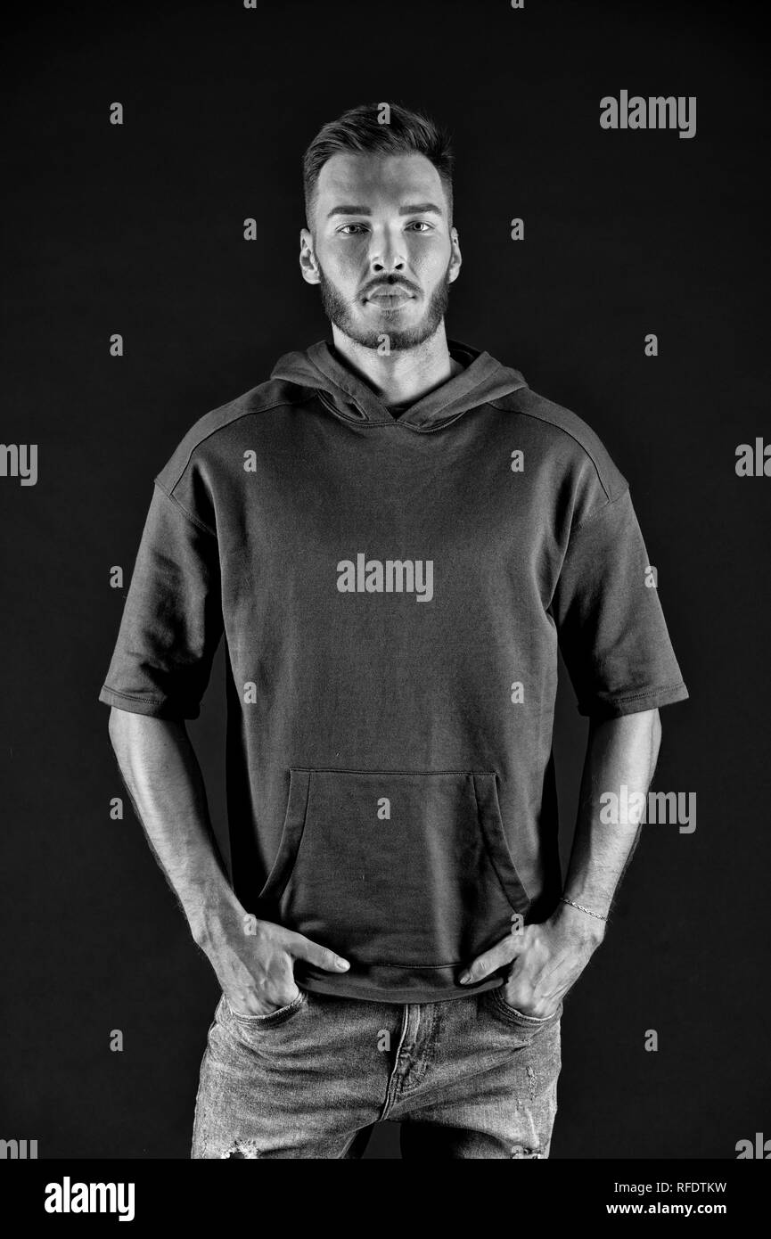 Fashion concept. Bearded man with fashion look. Casual fashion style. Fashion is freedom, black and white. - Stock Image