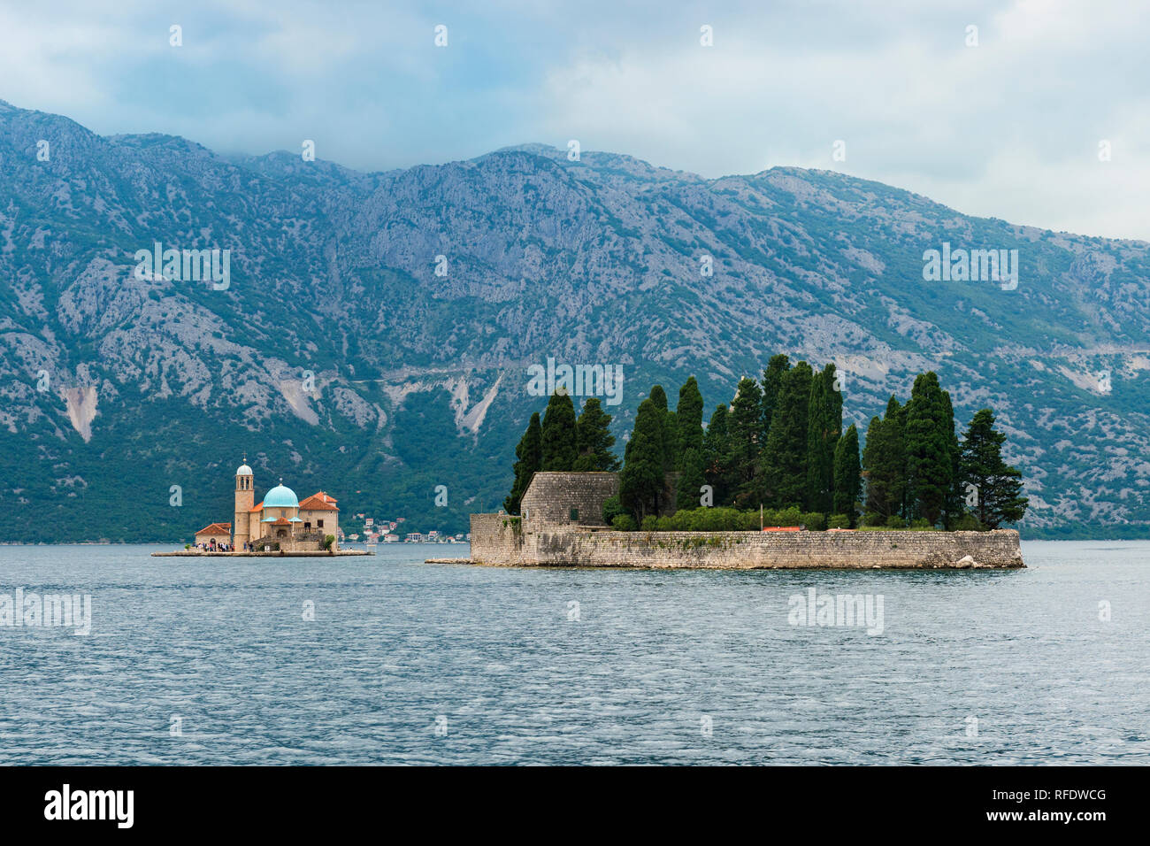 Saint Georges and Our Lady of the Rocks Islands, Kotor Bay, Perast, Montenegro - Stock Image