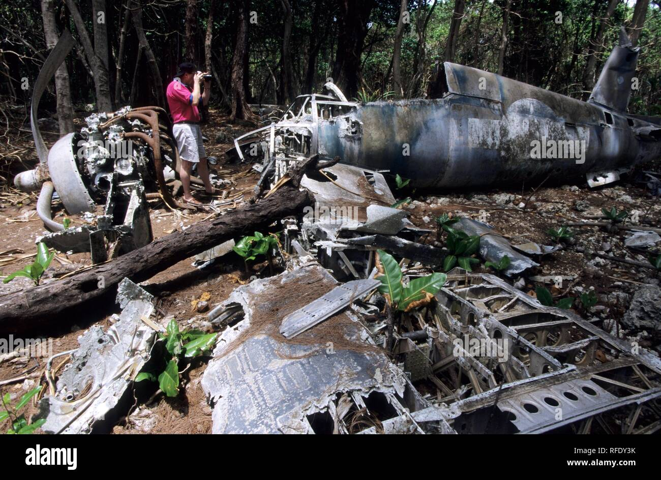 The wreck of a shot down military plane of World War 2, Palau, Micronesia Stock Photo