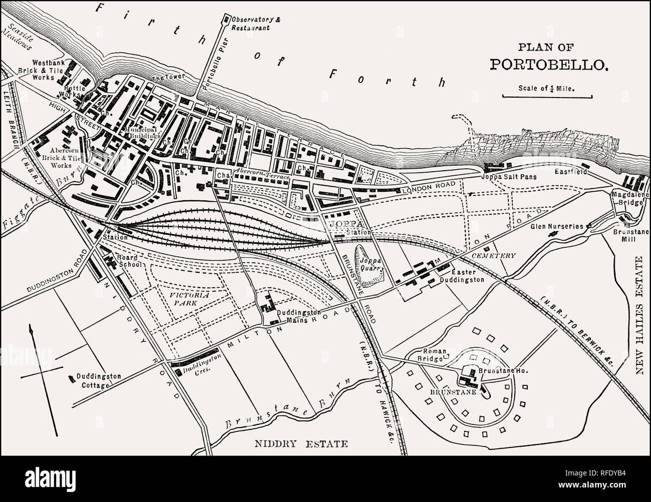 Plan of Portobello, Edinburgh, Scotland, 19th century - Stock Image