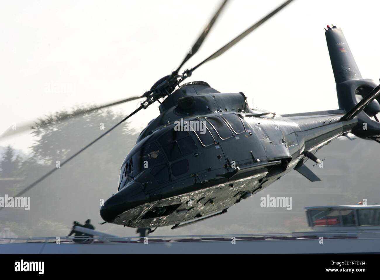 Police helicopter Eurocopter EC 155 transport helicopter, Duesseldorf, Germany - Stock Image