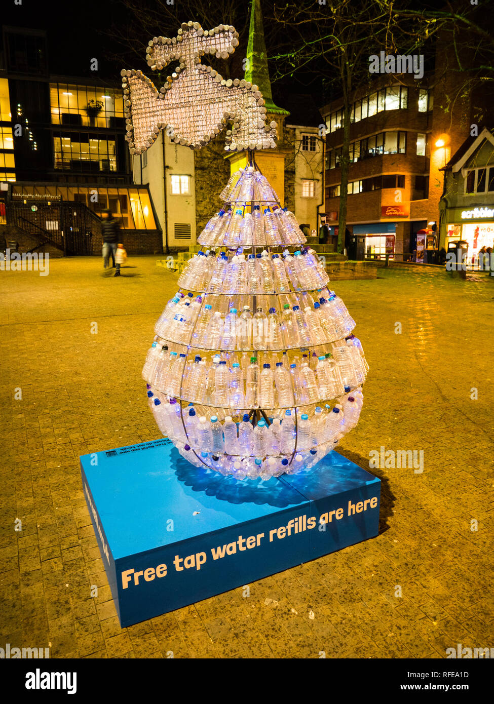 Sculpture on use of Plastic Water Bottles, Oxford, Oxfordshire, England, UK. - Stock Image