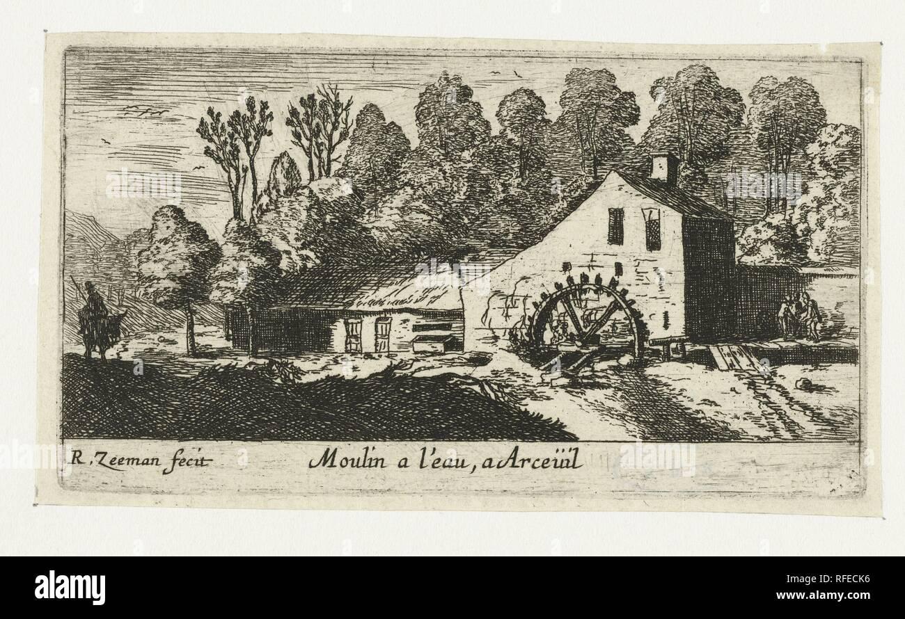 Water mill at Arceuil, Reinier Nooms, 1650.jpg - RFECK6  - Stock Image