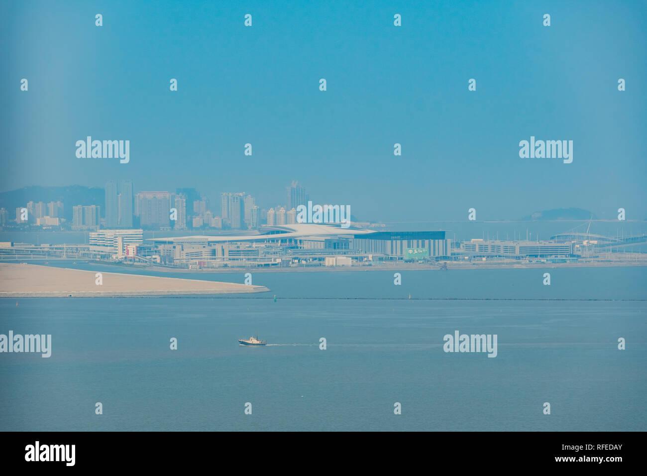 Aerial view of the Macau Boundary Crossing Facilities at Macau - Stock Image