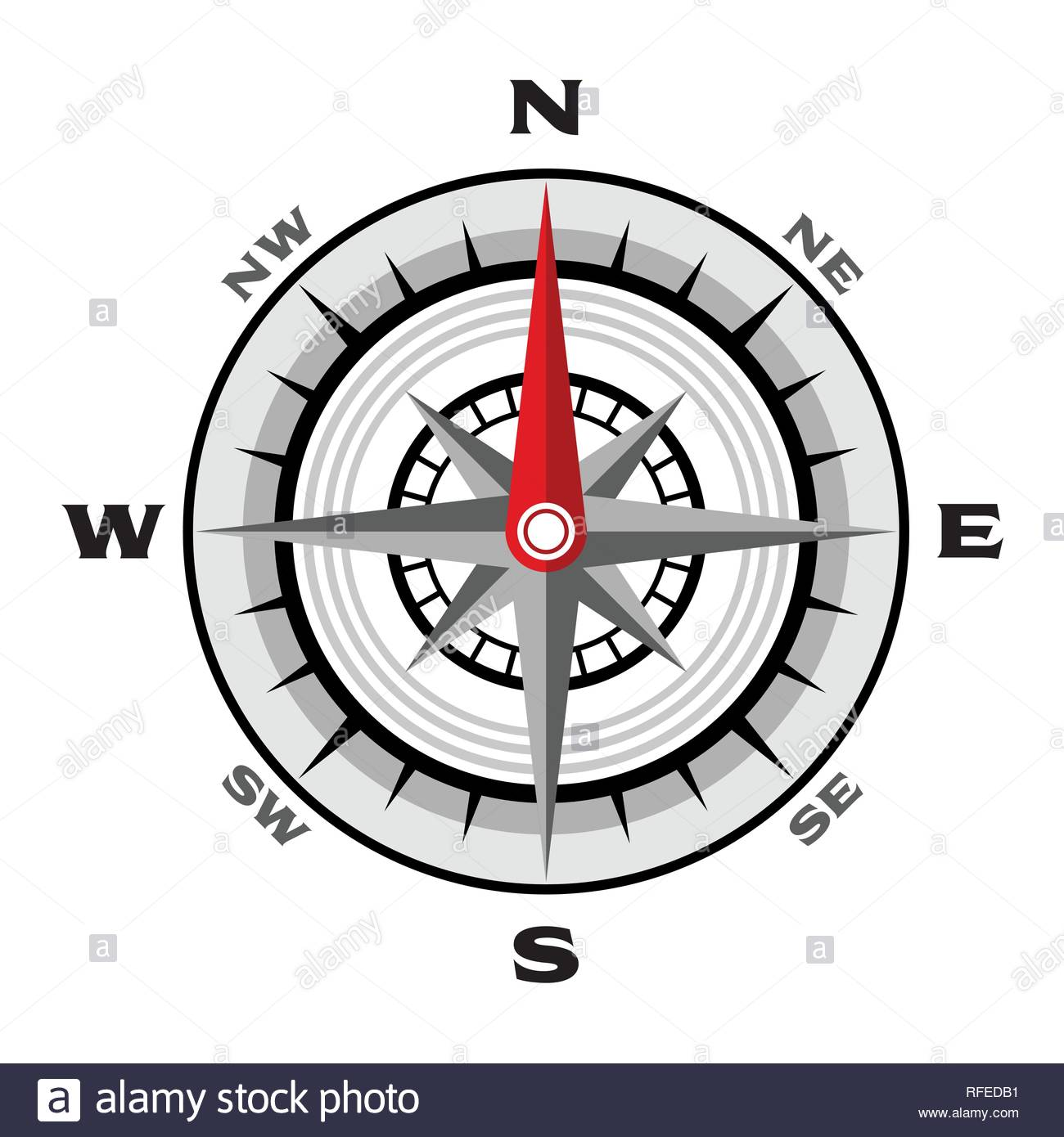 Compass flat vector illustration on a white background - Stock Vector