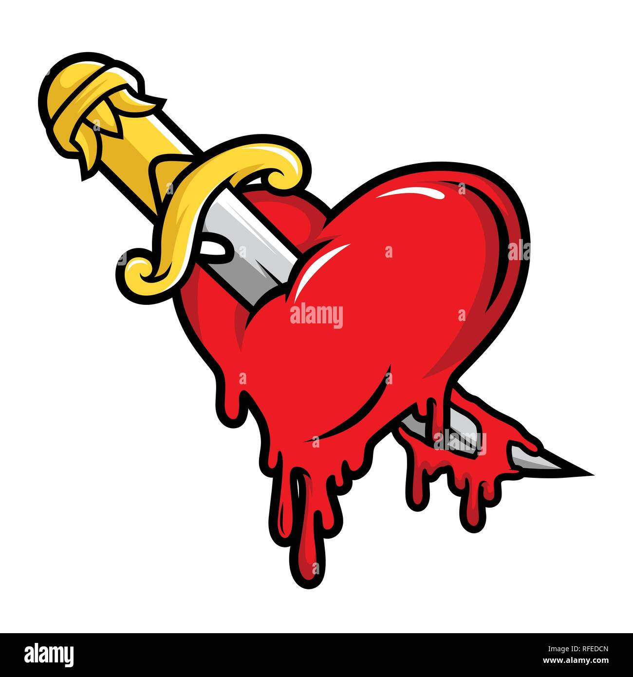 Dagger and Bloody Heart Illustration Vector in Cartoon Style - Stock Vector