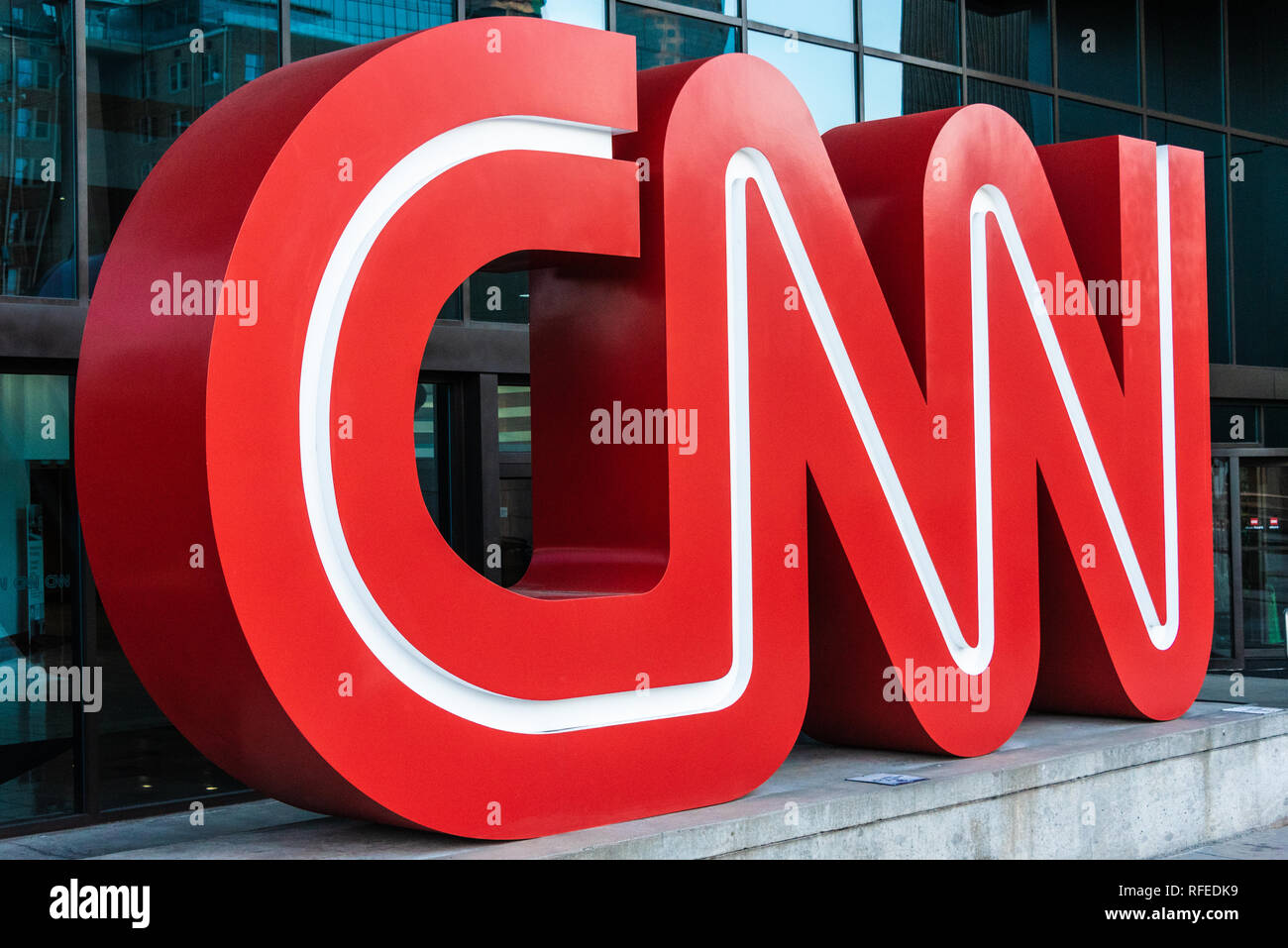 CNN logo signage outside of the CNN Center in Atlanta, Georgia, the worldwide headquarters of CNN. (USA) - Stock Image