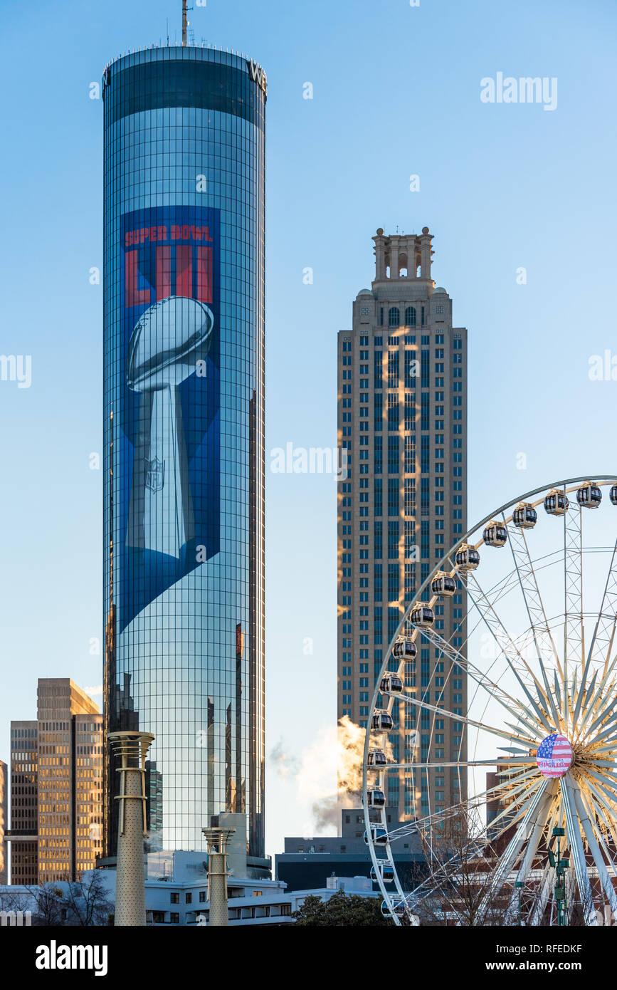 Downtown Atlanta, Georgia sunrise with Super Bowl LIII supergraphics adorning the iconic Westin Peachtree Plaza tower. (USA) - Stock Image