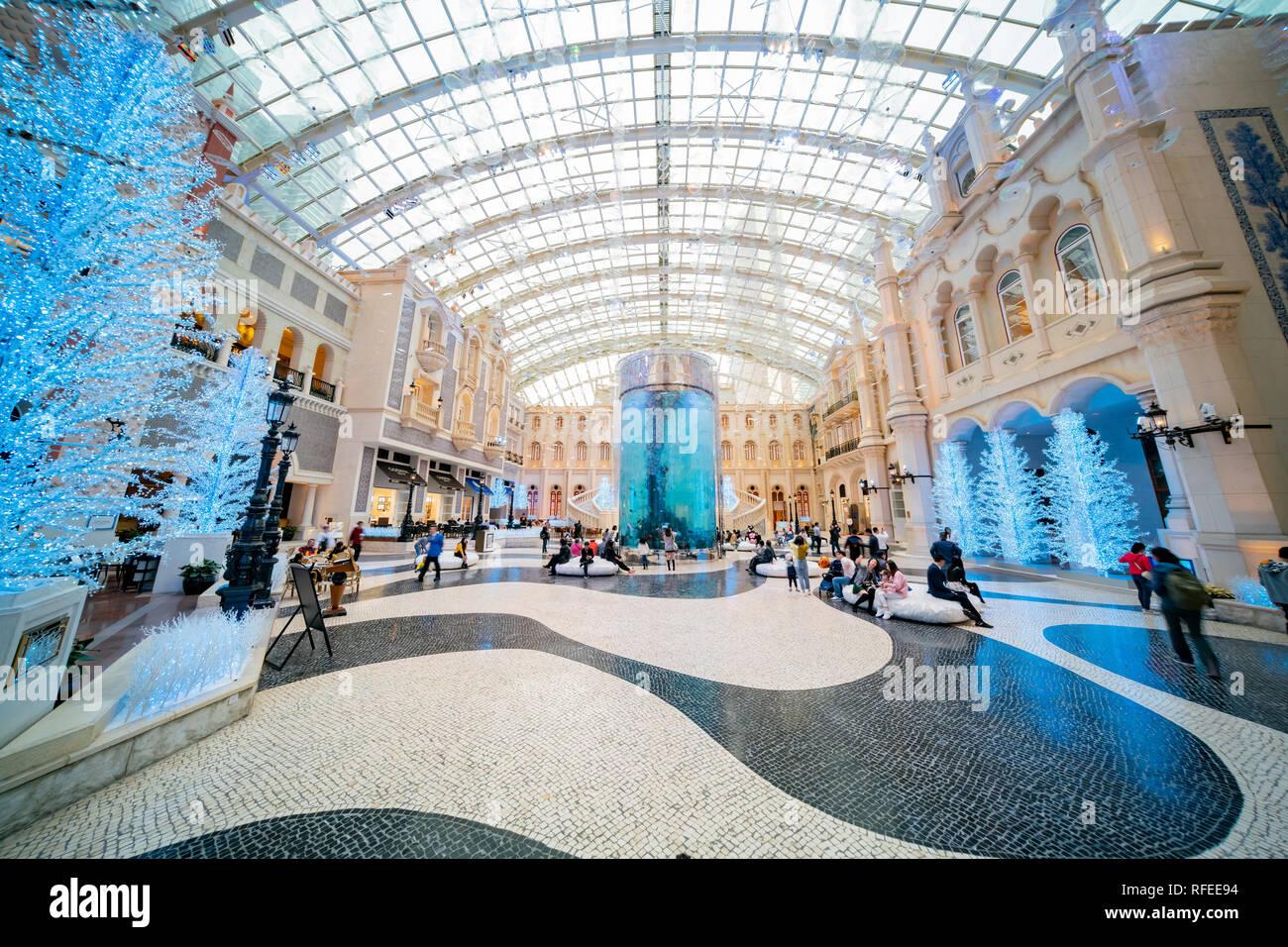 Macau, DEC 24: Interior view of the famous Casino Hotel MGM on DEC 24, 2018 at Macau - Stock Image