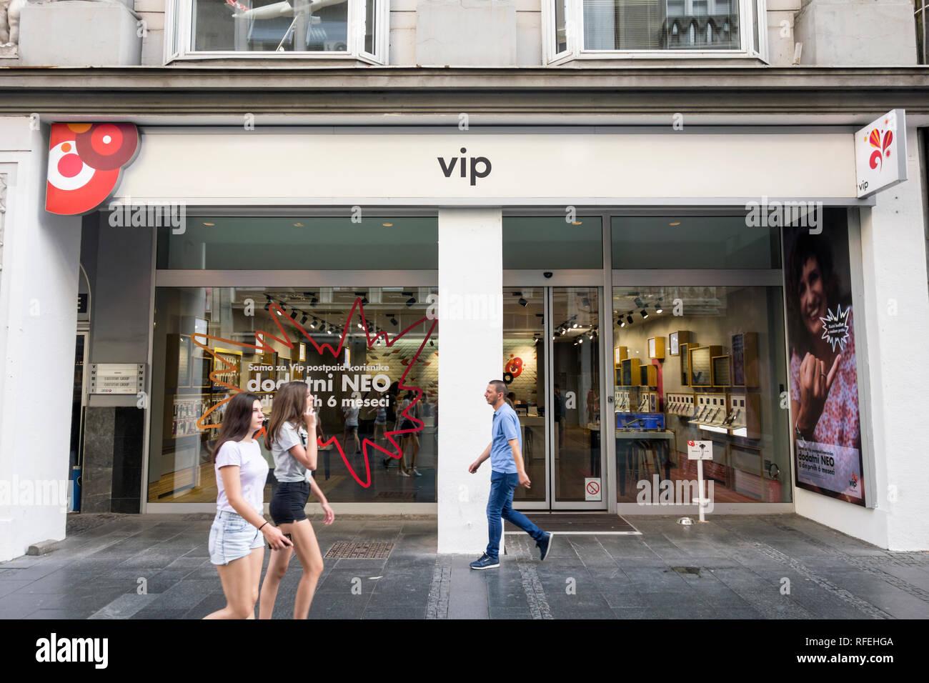 VIP telecom shop in Belgrade, Serbia - Stock Image