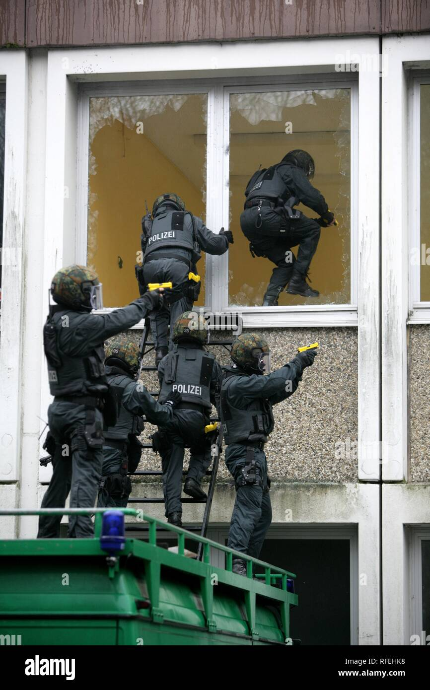 Exercise of a Police SWAT Team, Germany Stock Photo