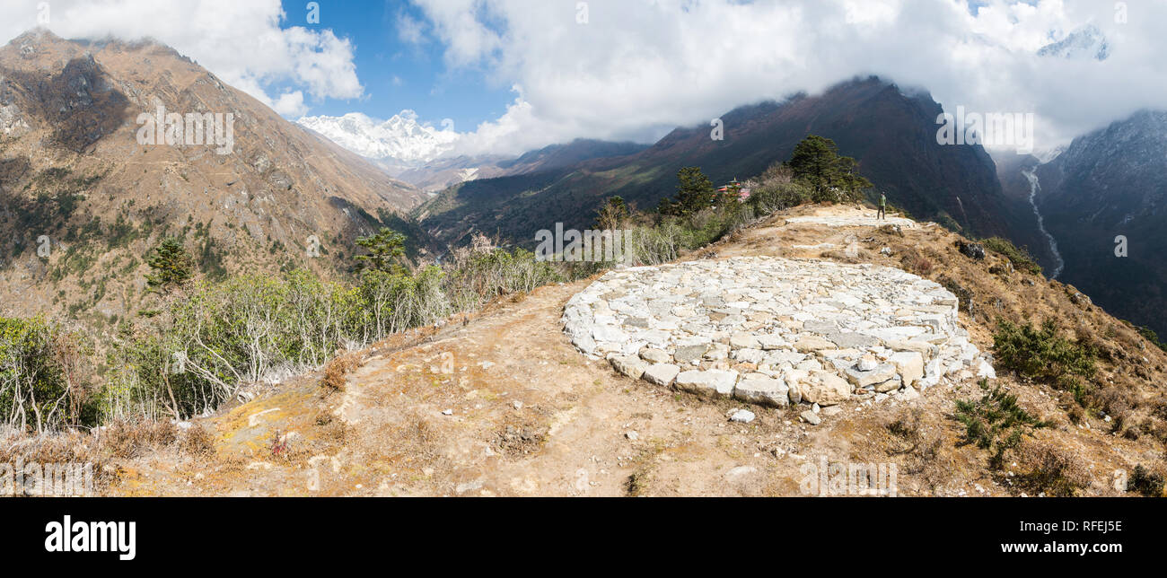 Stone helipad in Tengboche, Sagarmatha, Nepal - Stock Image