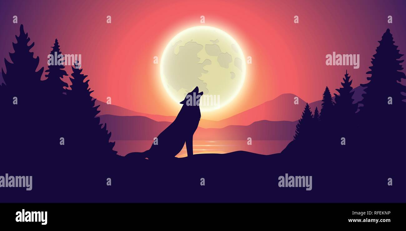 wolf howls the moon by the lake at forest and mountain landscape vector illustration EPS10 - Stock Image