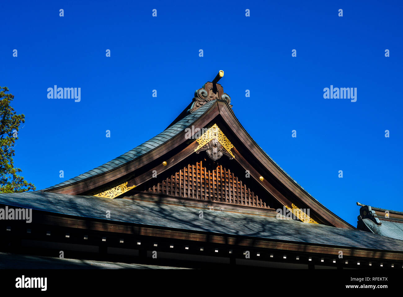 Ise Grand Shrine, Mie Prefecture, Japan: Roof detail - Stock Image