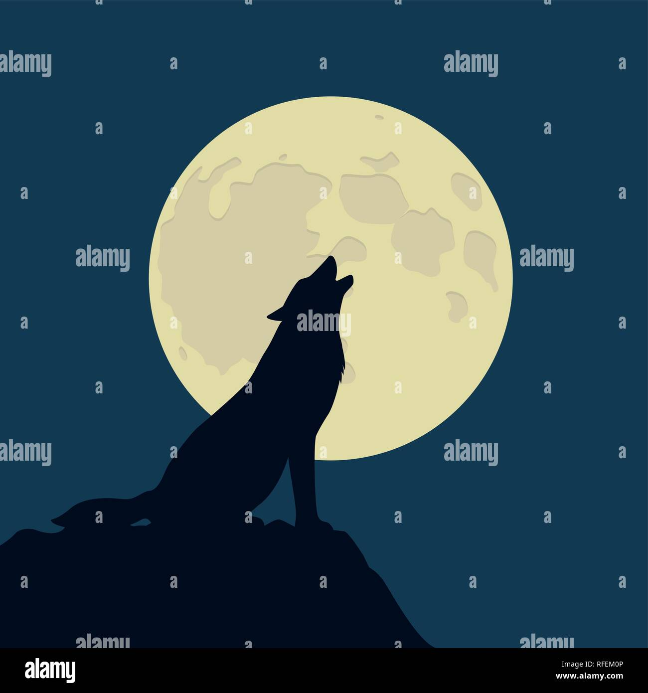 wolf howls at the full moon vector illustration EPS10 - Stock Image