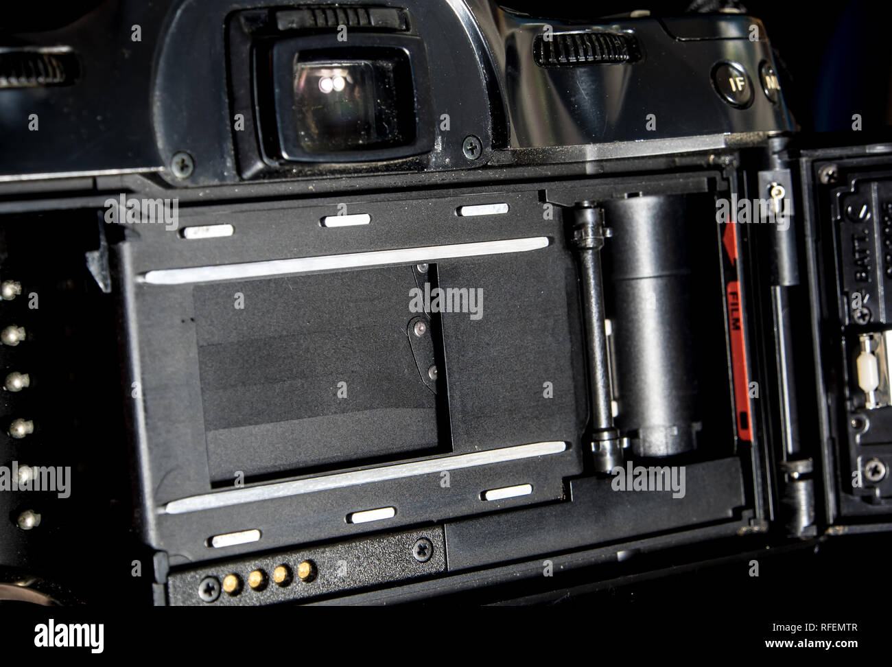 Back view of film system SLR camera body opened back lid to film position, Inside view of the shutter - Stock Image