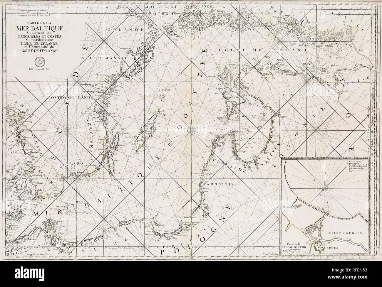 Carte de la Mer Baltique, contenant les bancs, isles et costes comprises entre L'Isles de Zelande et l'extreme du Golfe de Finlande..jpg - RFEN53 - Stock Image