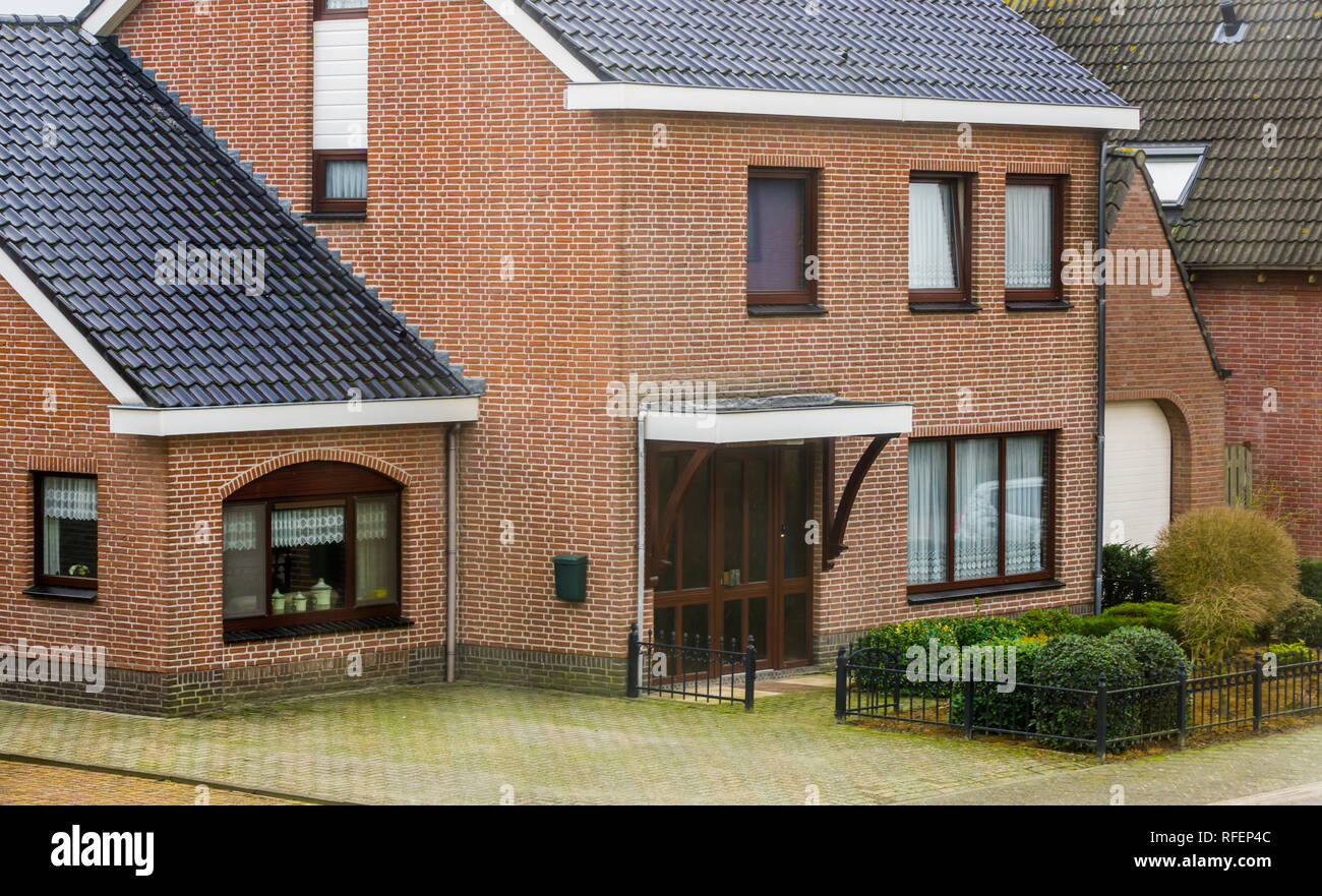 Modern Dutch House In Vintage Style, Luxurious Home Exterior, Bungalow In A  Small Village In The Netherlands
