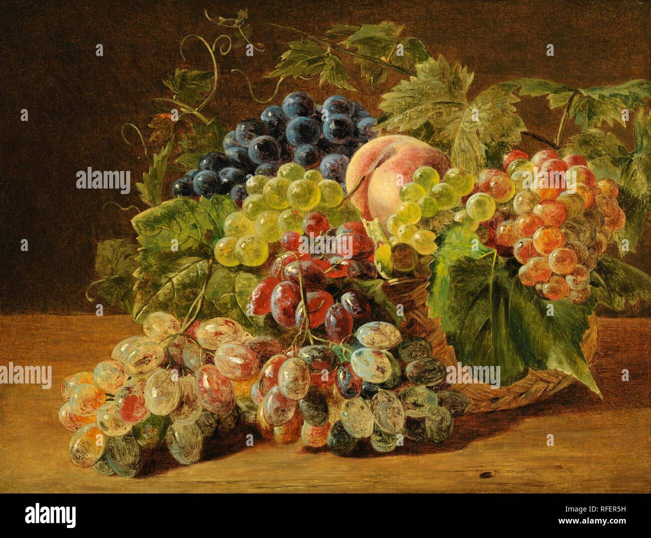 Ferdinand Georg Waldmller VIENNE 1793 - 1865 STILL LIFE WITH PEACHES AND GRAPES.jpg - RFER5H  - Stock Image