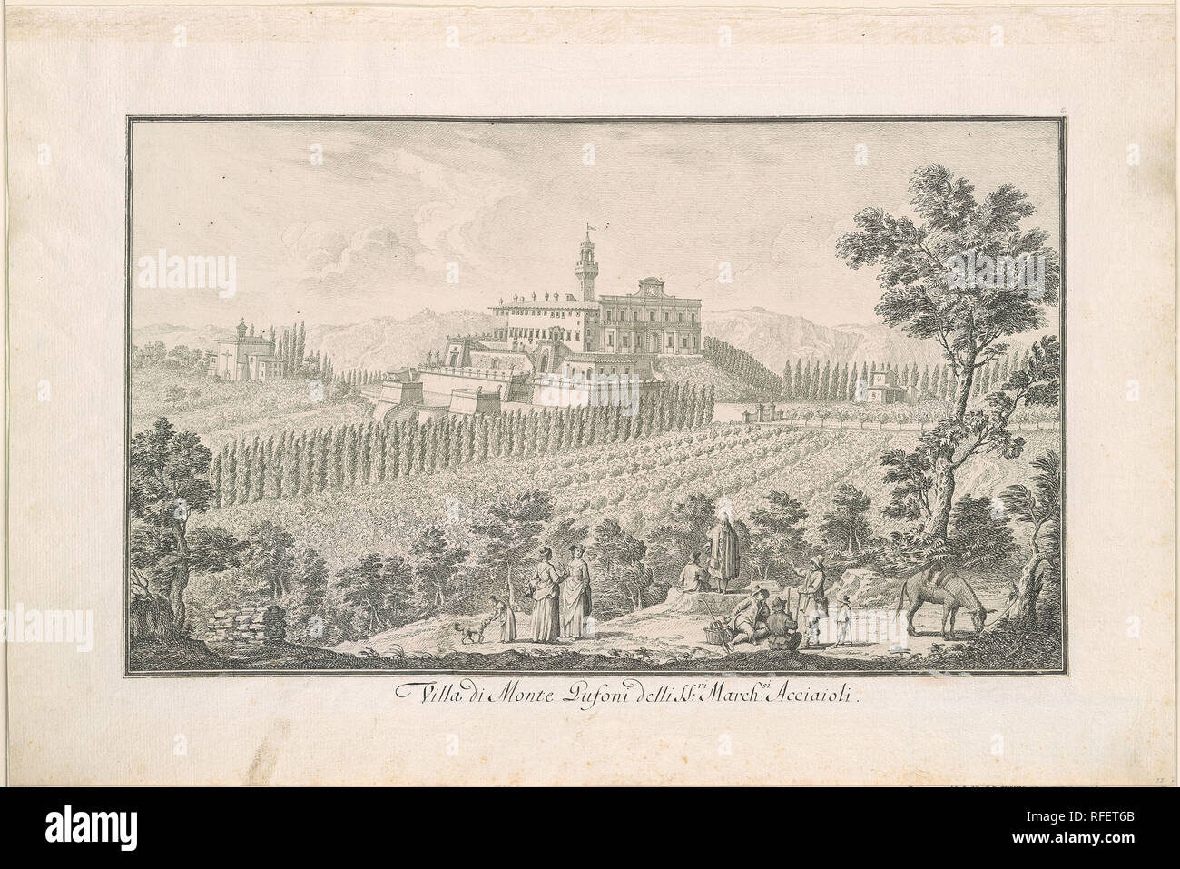 Giuseppe Zocchi 1711-1767 Castle of Montegufoni.jpg - RFET6B Stock Photo