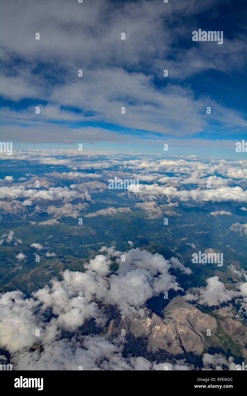 A view over the Austian Alps taken from an aeroplane - Stock Image