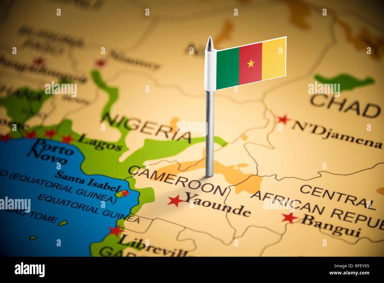 Cameroon marked with a flag on the map Stock Photo ... on côte d'ivoire map, estonia map, grenada map, monaco map, gambia map, saudi arabia map, rwanda map, madagascar map, ghana map, egypt map, mali map, sudan map, namibia map, croatia map, tunisia map, congo map, algeria map, thailand map, kenya map, angola map, liberia map, cape verde map, morocco map, gabon map, uganda map, africa map, libya map, nigeria map, senegal map, malawi map, ecuador map, comoros map, niger map, ethiopia map, mozambique map, zimbabwe map,