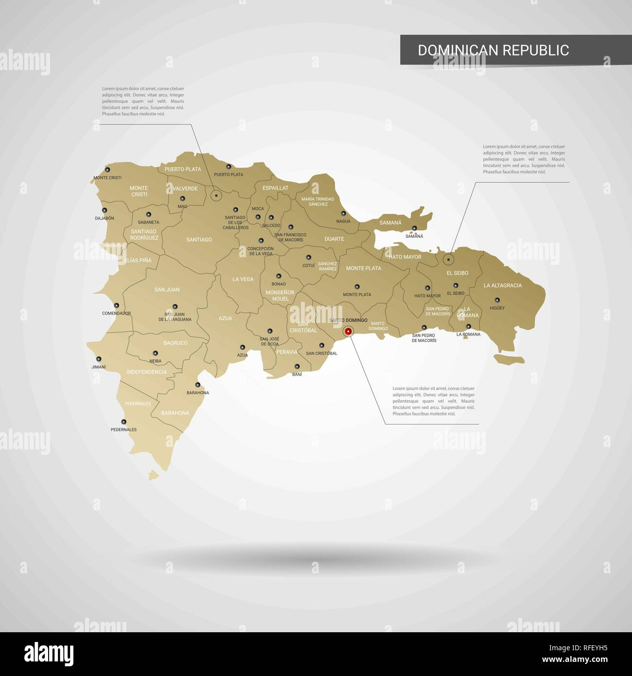 Stylized vector Dominican Republic map. Infographic 3d gold ... on paraguay cities map, rhine river cities map, barbados cities map, trinidad cities map, senegal cities map, bahamas cities map, guam cities map, antarctic cities map, luxembourg cities map, south sudan cities map, serbia cities map, western asia cities map, slovakia cities map, united states of america cities map, latvia cities map, belarus cities map, newfoundland and labrador cities map, nova scotia cities map, chad cities map, tibet cities map,