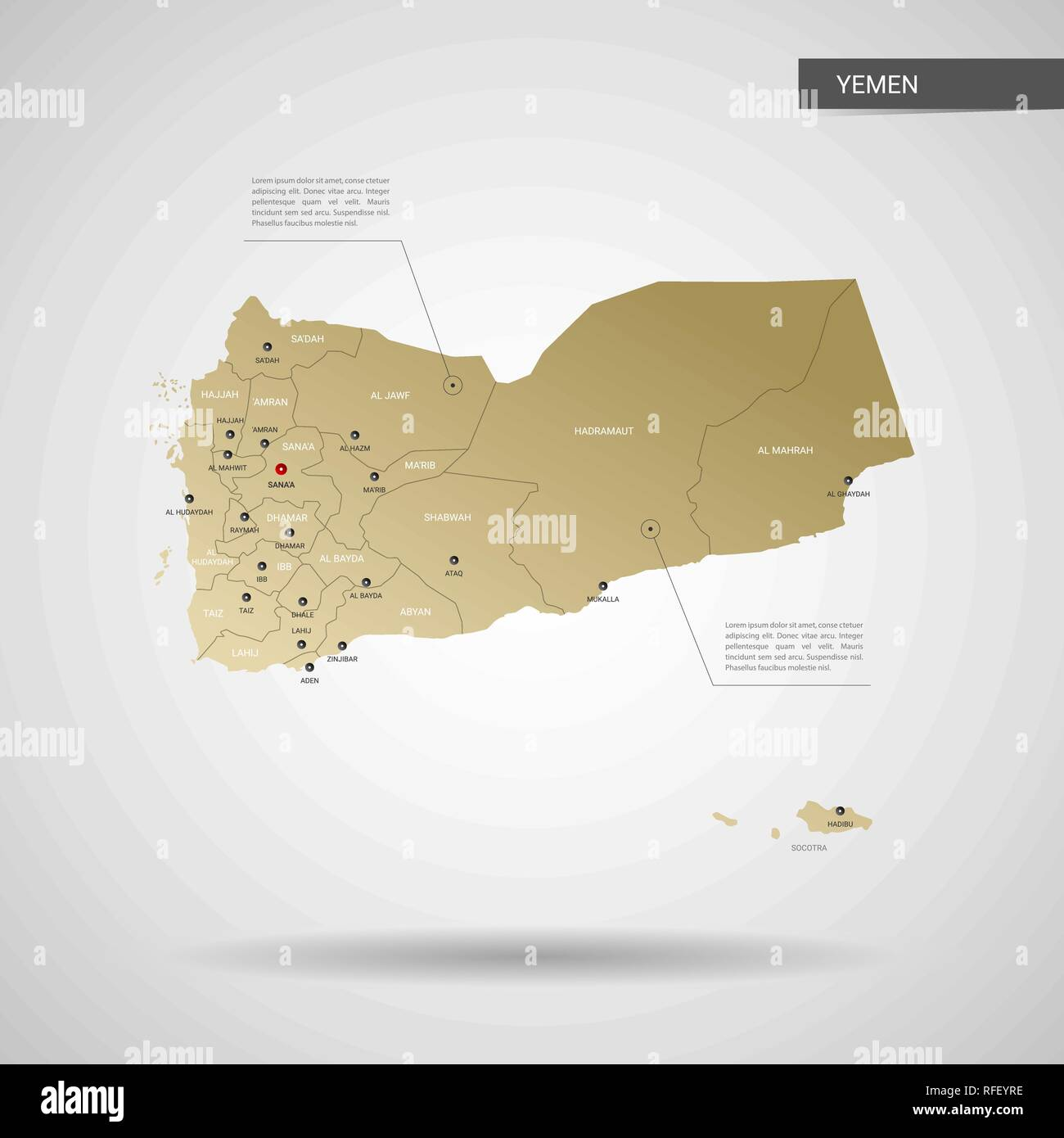 Stylized vector Yemen map.  Infographic 3d gold map illustration with cities, borders, capital, administrative divisions and pointer marks, shadow; gr - Stock Vector