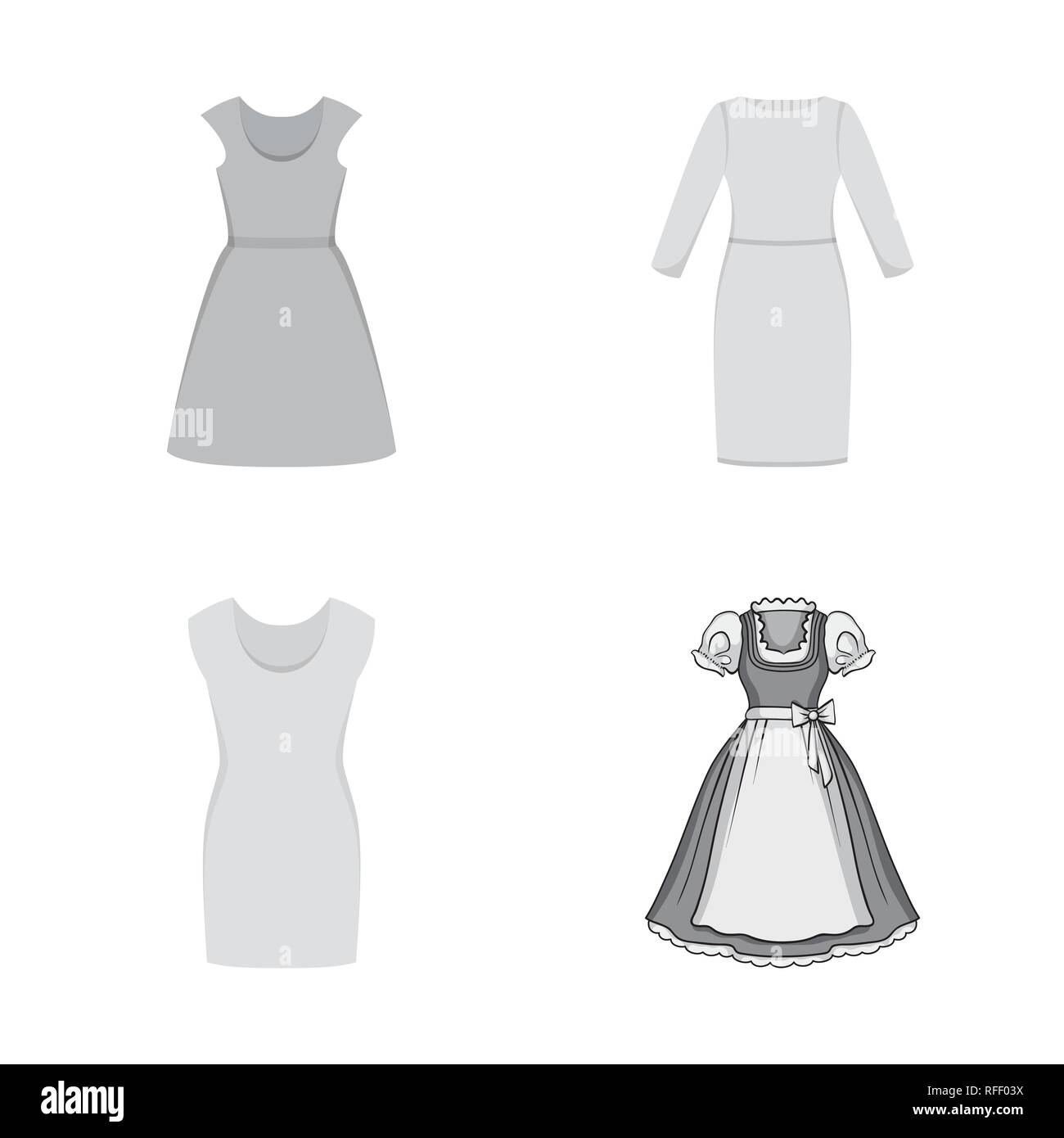 Vector design of dress and clothes logo. Collection of dress and evening vector icon for stock. - Stock Vector