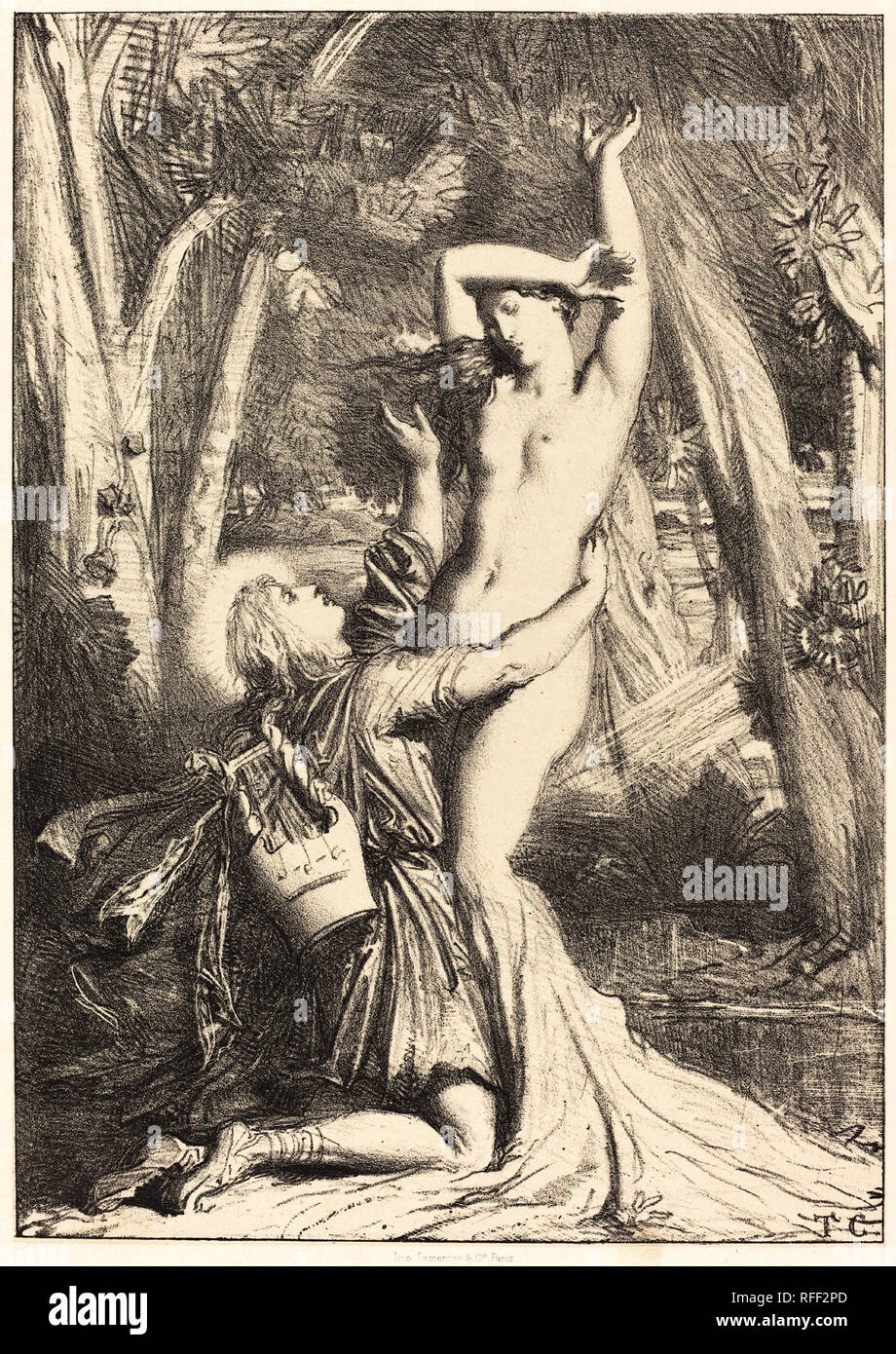 Apollon et Daphne. Dated: 1844. Medium: lithograph. Museum: National Gallery of Art, Washington DC. Author: THEODORE CHASSERIAU. - Stock Image