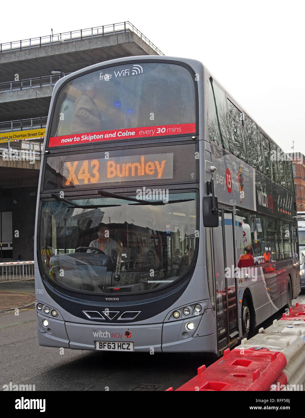 The Witchway X43 bus, Manchester to Burnley express, TransDev Lancashire Bus, Chorlton Street, Manchester, England, UK, M1 3JF Stock Photo
