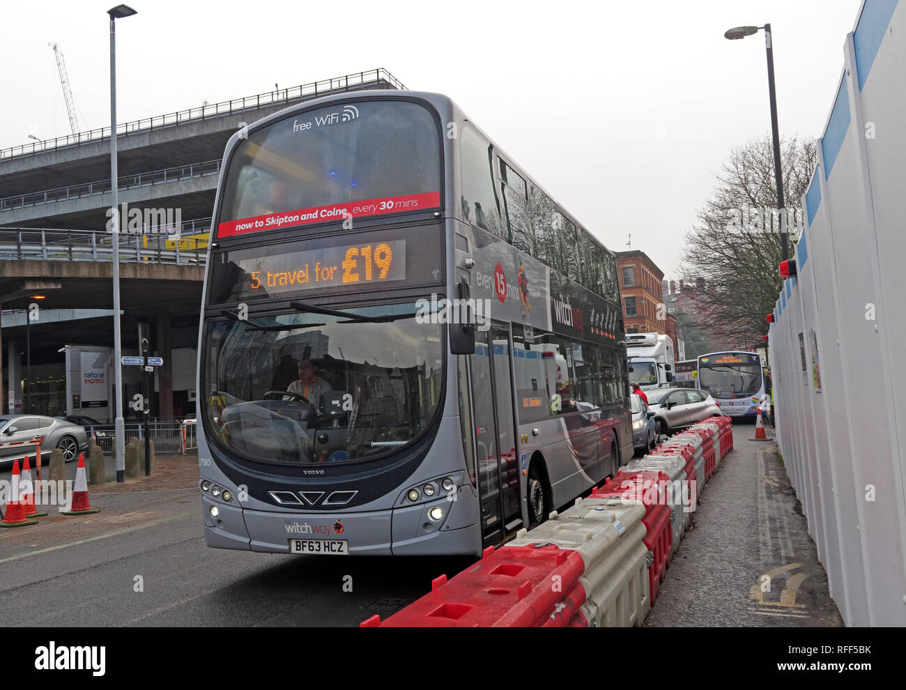 The Witchway X43 bus, Manchester to Burnley express, TransDev Lancashire Bus, Chorlton Street, Manchester, England, UK, M1 3JF - Stock Image