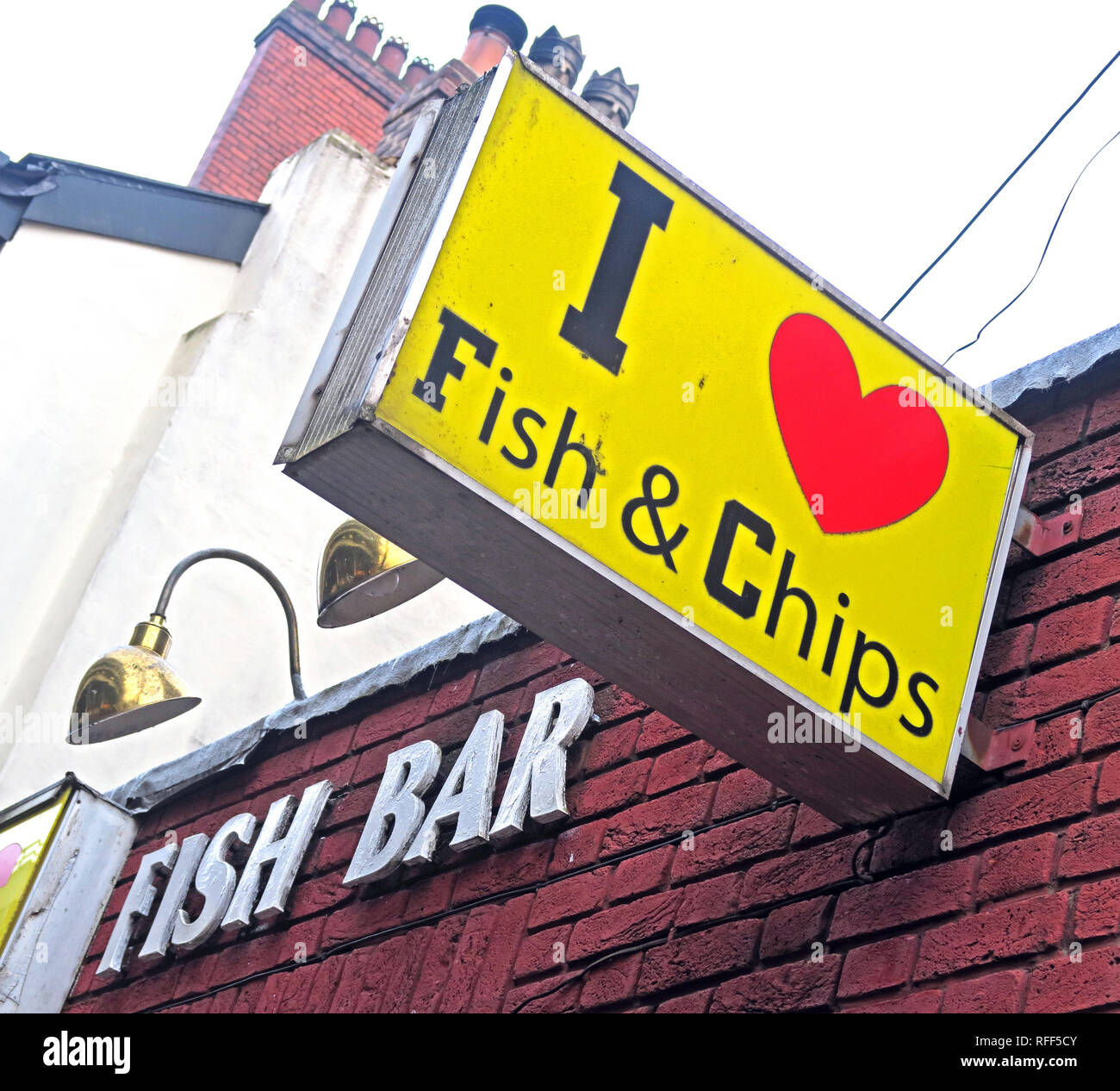 I heart Fish and Chips sign , I love Fish and Chips, Fish Bar, Bloom St, Krispy Fried Fish & Chips, Gay Village, Manchester, Lancashire, England, UK - Stock Image