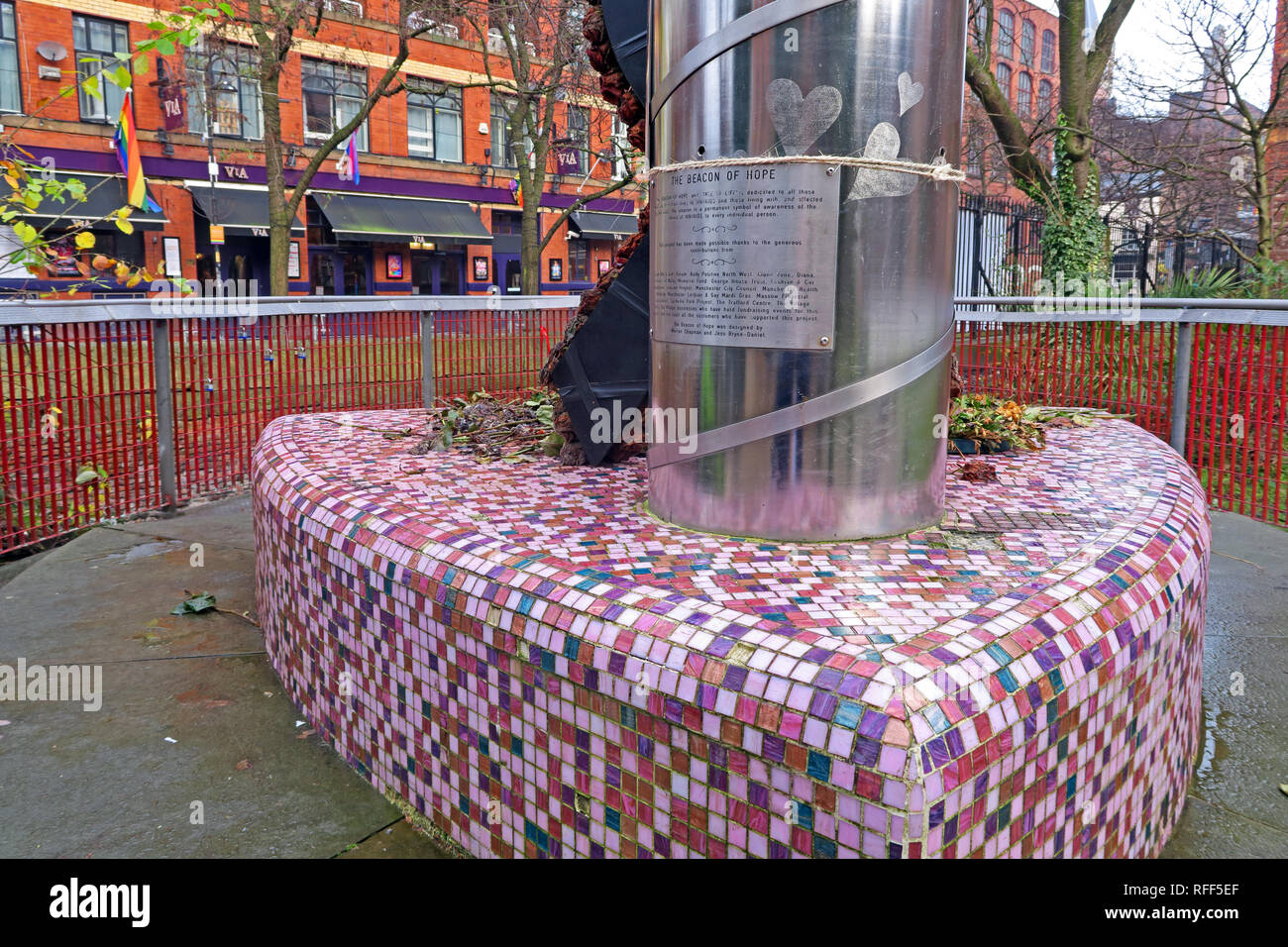 Manchester Canal street Beacon of Hope - Stock Image