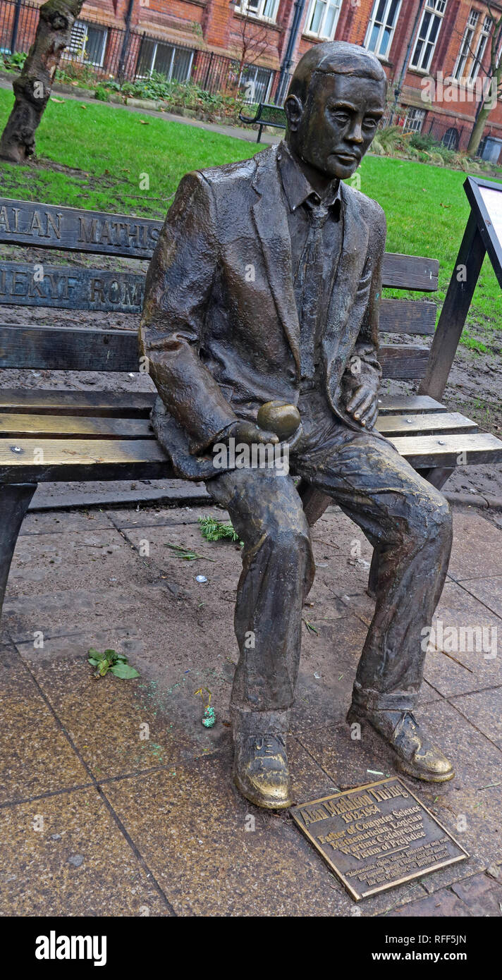 Bronze statue of Alan Mathison Turing, Sackville Gardens, Gay Village Canal St, Manchester, Lancs, England, UK, M1 - Stock Image