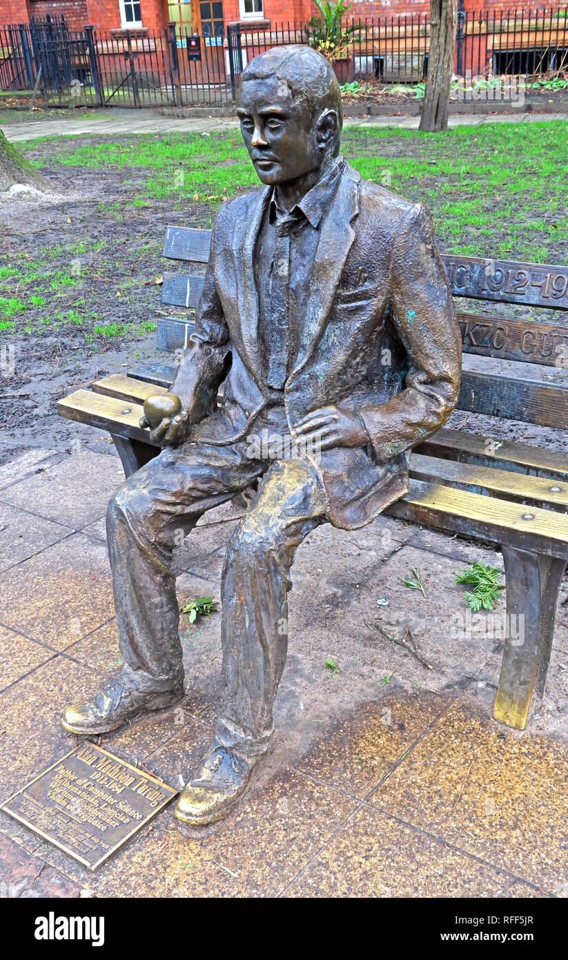 Bronze statue of Alan Mathison Turing, Sackville Gardens, Gay Village Canal St, Manchester, Lancs, England, UK, M1 - Stock Image
